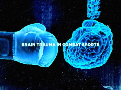 Brain Trauma in Combat Sports editorial medical illustration neon cgi graphic design boxing glove artist toronto digitalart fighting boxing brain xray