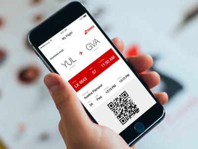 Boarding Pass - Day 024 #DailyUi gva yul dailyui app white red air line canada swiss passenger flight boarding pass