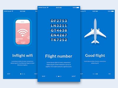 Onboarding - Day 023 #DailyUi dailyui app flip airplan wifi inflight flight onboarding