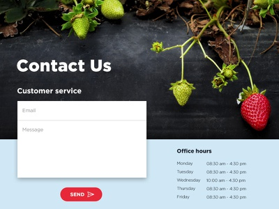 Contact Us - Day 028 #DailyUi dailyui farmer office hours fruit strawberry form contact us