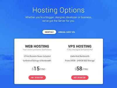 Pricing - Day 030 #DailyUi blue cloud dailyui pricing hosting