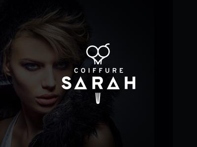 Coiffure Sarah white black logo brand branding hairdresser
