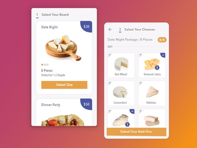 Cheese Board SaaS ui native mobile ecommerce saas