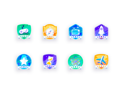 Complete Badges level up gamification game shield banner awards virtual learning stem science sparkle codeverse platform coding kids achievements badges