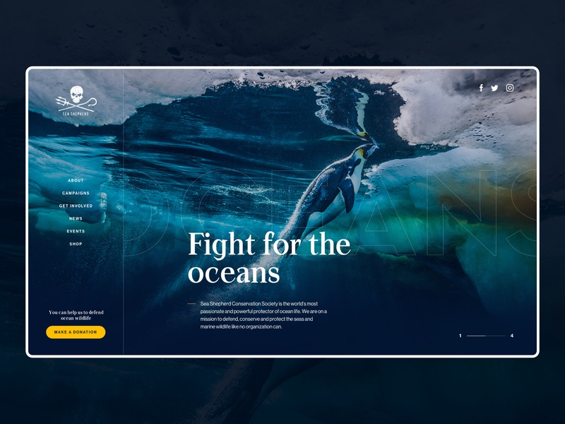 Sea Shepherd - Design Exploration design typography simple minimalist webdesign web website ui