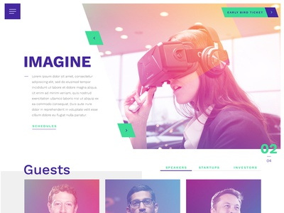 [WIP] Header of digital and technology festival website gradient technology event digital type skew header