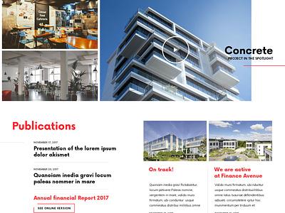Project in the Spotlight publications news spotlight website webdesign web ui simple building architecture