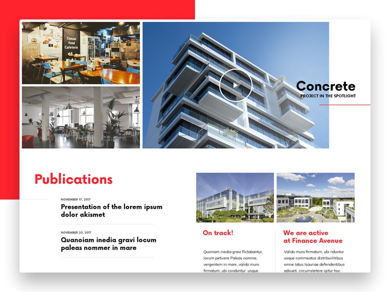 Project in the Spotlight publications news spotlight website webdesign web ui simple building architecture