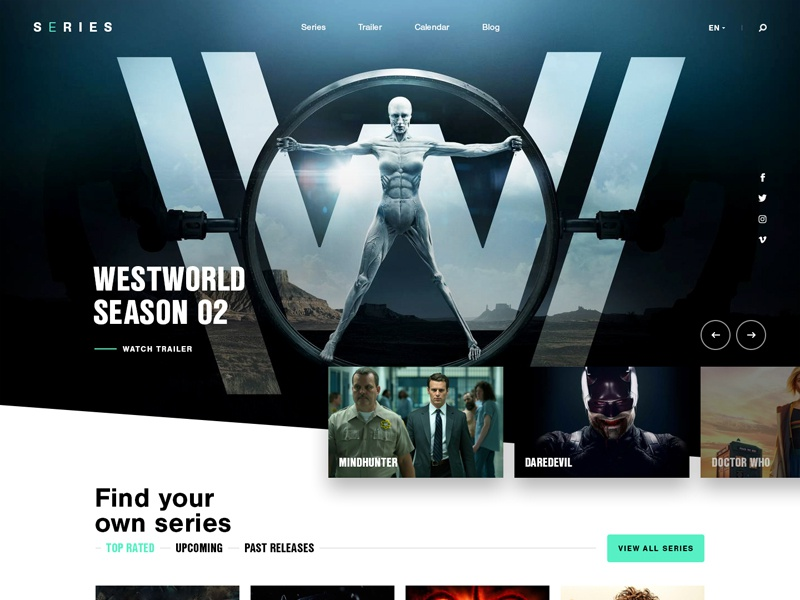 Series website webdesign web ui simple tv series movies slider hero