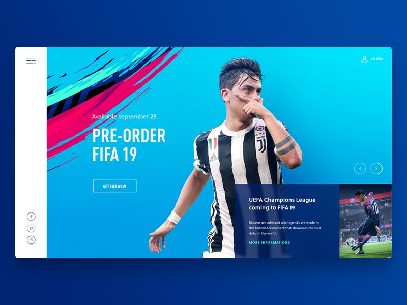 Fifa '19 Landing Website electronic arts ea landing website futball football soccer fifa ui web design