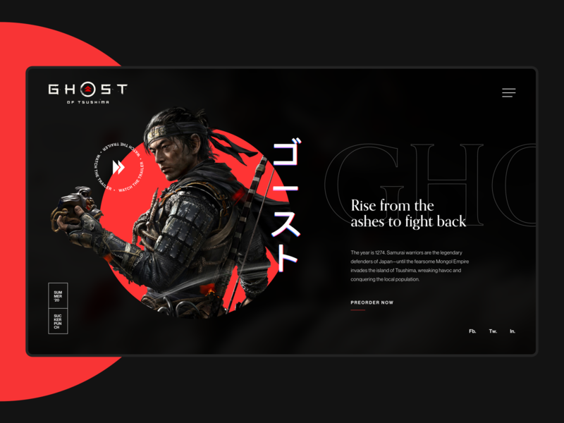 Ghost Of Tsushima - Design Exploration web videogame design exploration font minimalist webdesign website ui