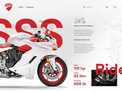 SuperSport S - Design Exploration motorcycle ducati typography ui design minimal webdesign web website