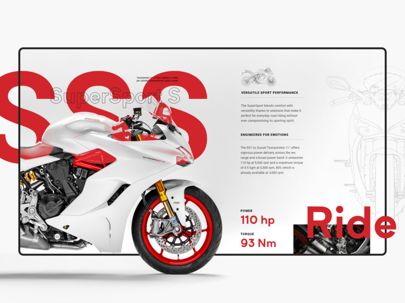 SuperSport S - Design Exploration motorcycle ducati typography ui design minimal webdesign web website