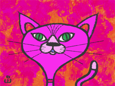 Fancy Cat cartoon illustration green eyes texture background art advertising character pink feline cat illustration cartoon
