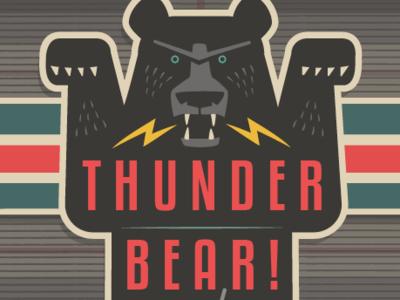 Thunder Bear on Plaid pattern design textile pattern advertising character animal branding bear logo stickers illustration bear illustration mascot cartoon mascot cartoon design bears bear