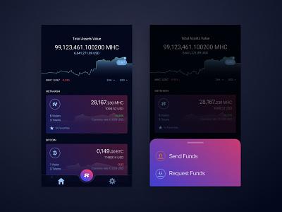 Cryptocurrency Wallet UI send metahash bitcloin cryptowallet crypto wallet cryptocurrency dark theme ui b2c ios mobile app