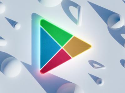 Google Play render logo play google 3d blender