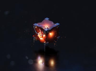 3D Fire Cube game blender art 3d