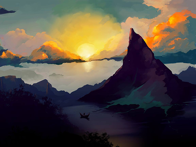 Recollection mountains sun photoshop digital painting
