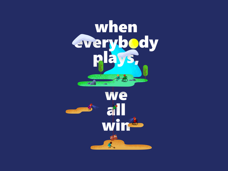 When everybody plays, we all win teamwork vector games gaming drawing inclusive microsoft