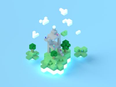 Microsoft Game Stack Block Concept render voxel 3d blender3d blender stack game microsoft