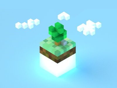 Microsoft Game Stack Minecrafty Concept voxel mic isometric render 3d blender stack game microsoft minecraft