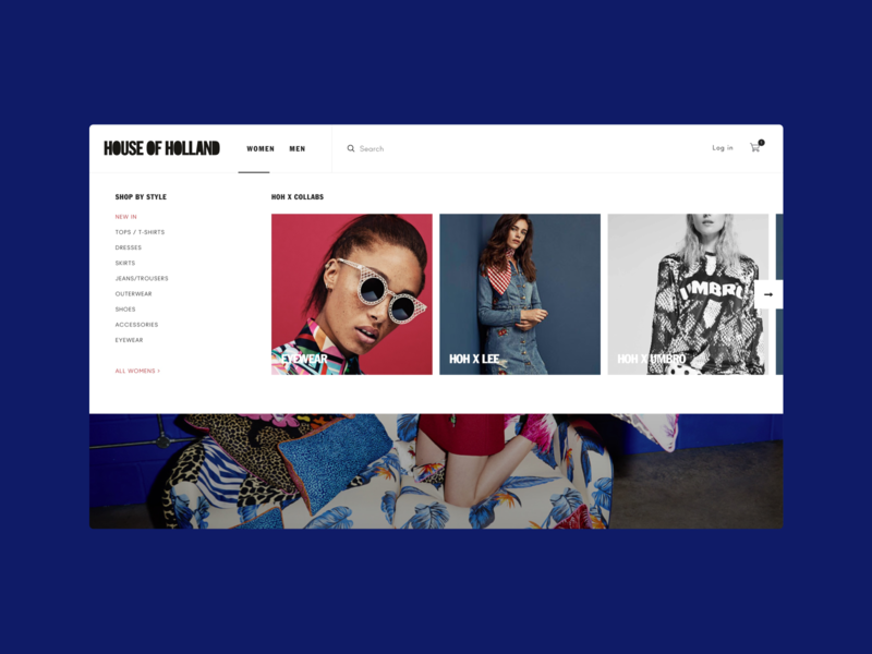 House of Holland Navigation clean fashion store ecommerce shopify