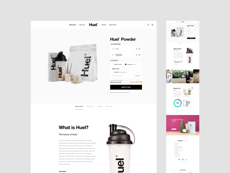 Huel - Product Page Full minimal store product ecommerce clean white shopify