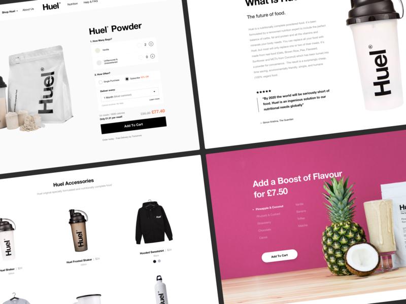 Huel shop white desktop minimal clean store ecommerce shopify