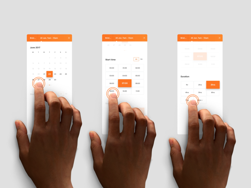 Mobile Time & Date UX white clean ui website data time calendar touch app ux mobile