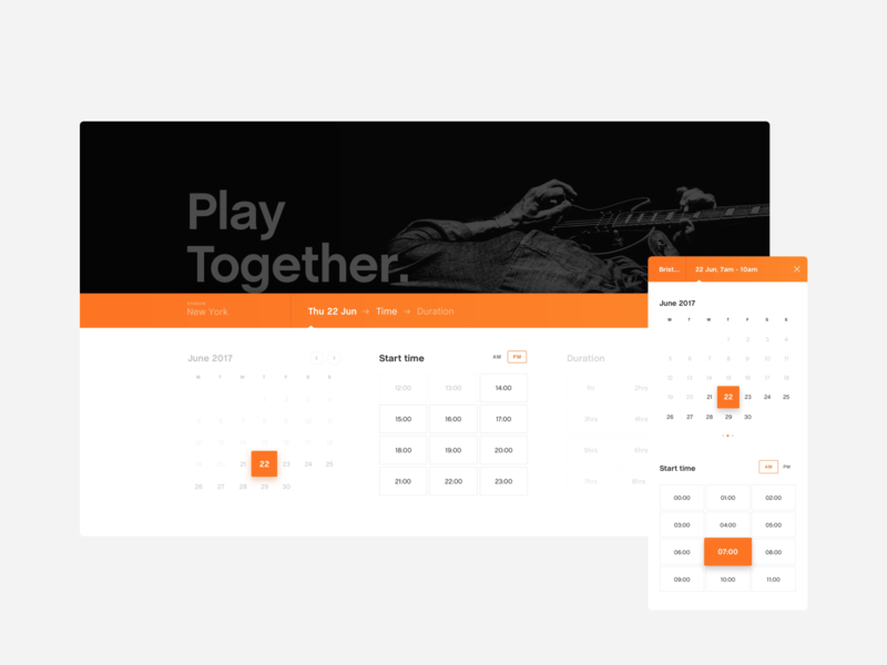 Calendar Time/Date UI - Pirate Studios black white orange pirate clean time calendar desktop mobile