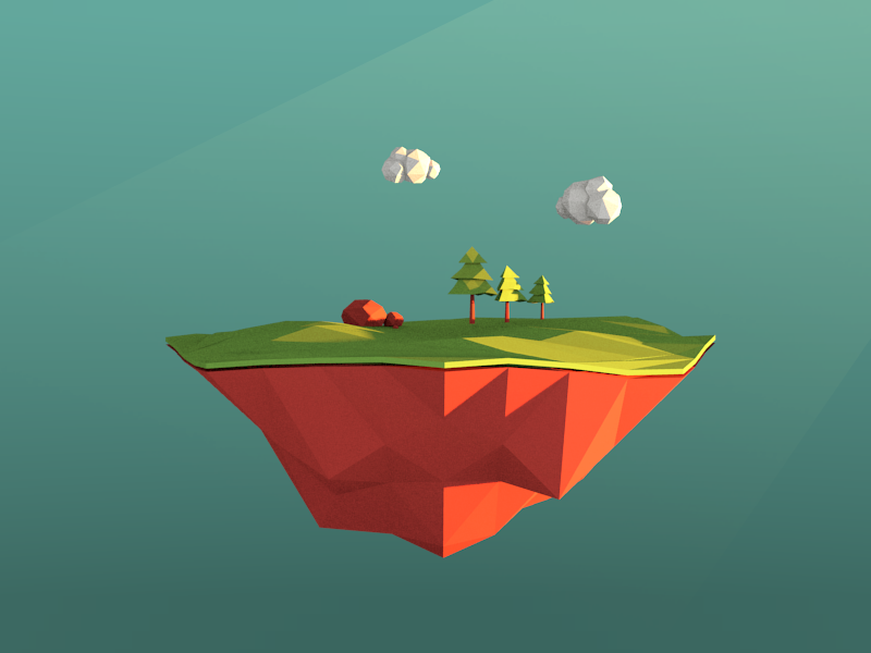VR Low poly floating forest island vr forest gradient illustration geometric c4d blender scene game 3d polygon