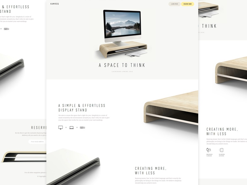 Kamroq Landing Page home landing white product apple minimal wood clean workspace mockup device
