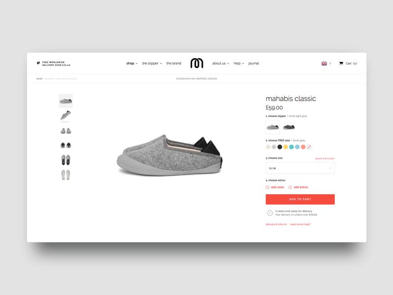 Mahabis Product Page slipper sneaker shoe white shop store ux ui product simple clean e-commerce