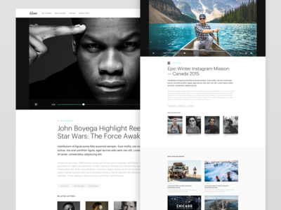 Video Layout typography white responsive clean article blog desktop video