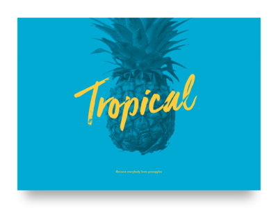 Tropical landing hero yellow blue tropical type typography color