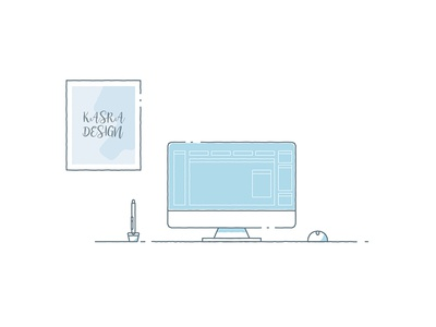 Back to Work - Illustration pencil pen imac mac monitor 2d animation 2d animation concept workstation desk vector work illustration