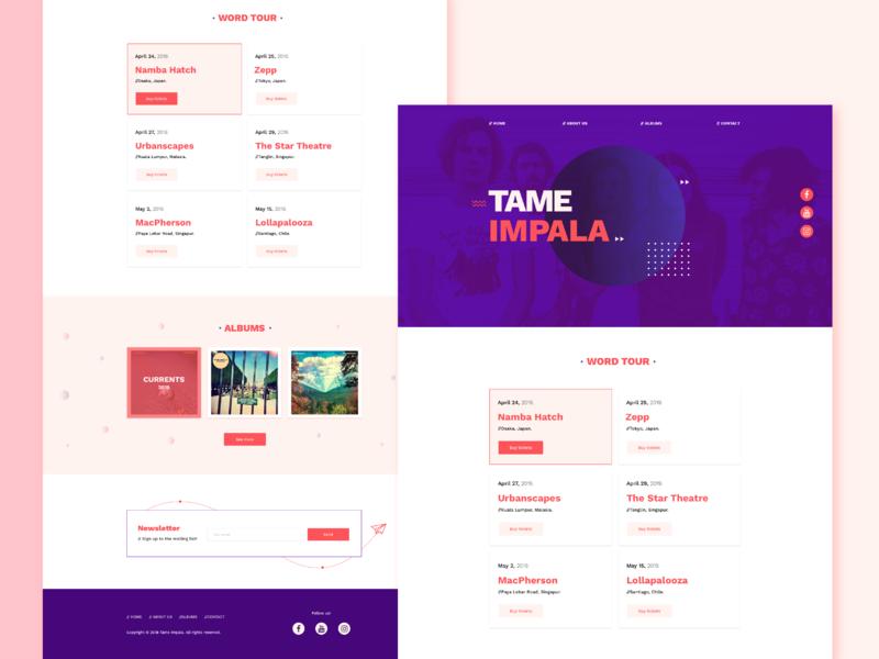 Tame Impala web design html5 sass css redesign web ux ui