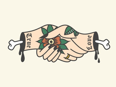 True Love design bones drips ghoul vector tattoo graphic design illustrator illustration