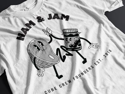 Ham&Jam 1930s cartoon jam ham inside joke t-shirt design vector graphic design illustrator illustration
