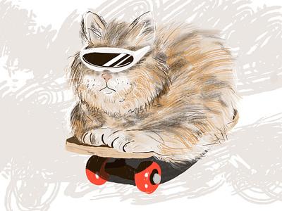 Sk8er cat procreate skateboard cat