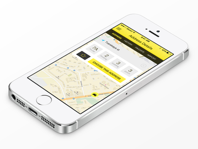 Taxi App — Address Details ipad iphone ios ios7 ios8 ui ux menu icons sketch taxi