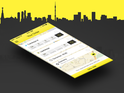 Taxi App — Behance Presentation ui ux ios mobile app sketch ipad iphone taxi order screen