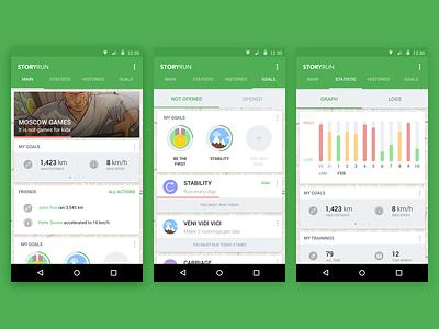 StoryRun — App for Runners material design material android l lollipop ui ux app mobile run graph stats