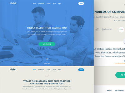 Tyba landing page recruiter hire web ui sketch landing page