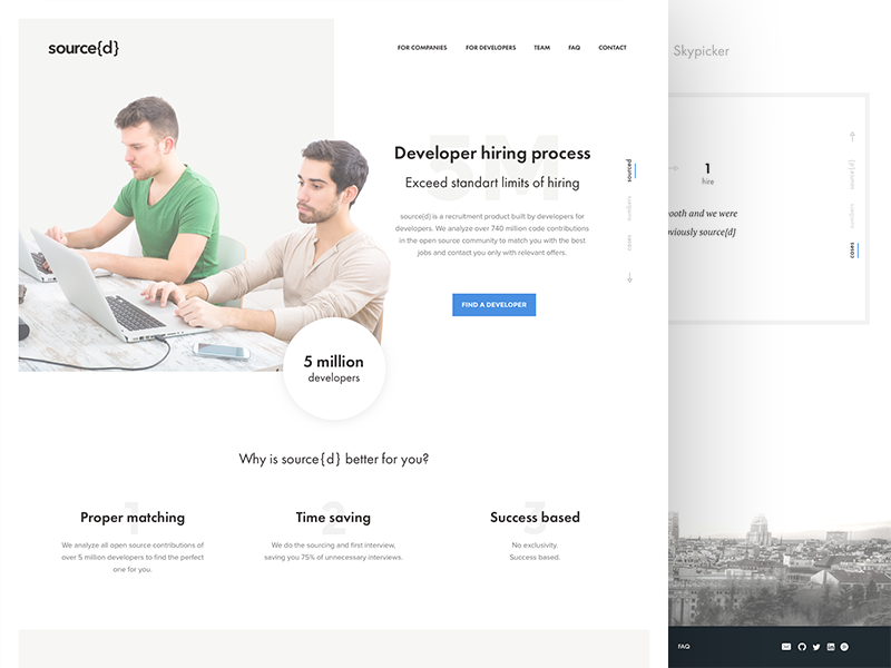Sourced redesign website web ui sketch site simple recriuter minimalism light landing