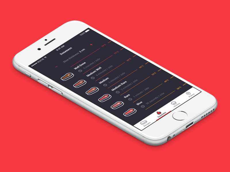Steak Doneness contest illustration ux ui meat doneness rdc screen ios app steak