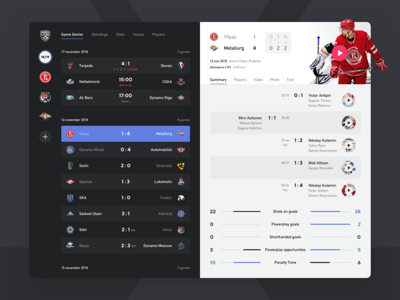 KHL Game Center facelift hockey khl design mobile app ipad ios sketch ui