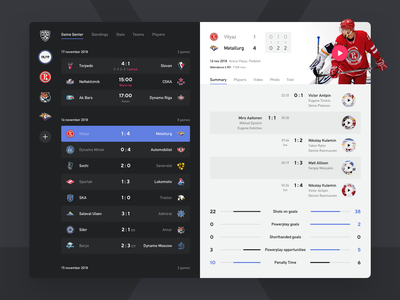 KHL Game Center facelift hockey khl design mobile app ipad ios sketch ui