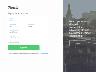 Pensio Signup Page signup picture page large white modern minimal